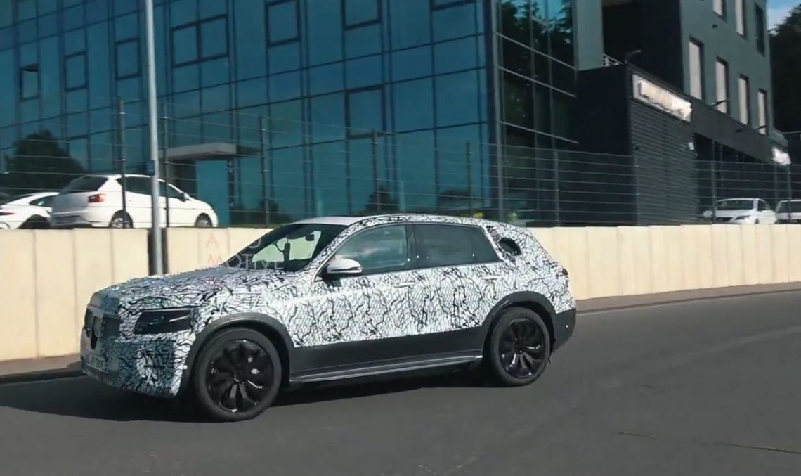 The Mercedes EQC runs around the Nurburgring