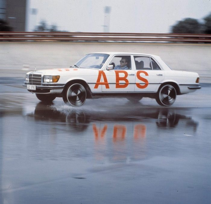 The anti-lock braking system debuted 40 years ago with the S-Class