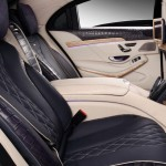 The crocodile leather upholstery in tones of beige and navy