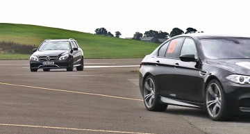 Mercedes E63 AMG meets the BMW M5 on the drag strip. VIDEO