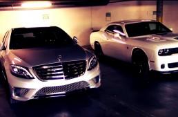 Mercedes S 65 AMG and Challenger Hellcat meet in rev battle. VIDEO