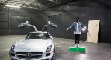 Kanye West's protégé, Theophilus London, flies with the gullgwings of the SLS