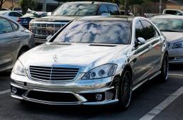 Alfredo Simon drives a chrome Mercedes-Benz