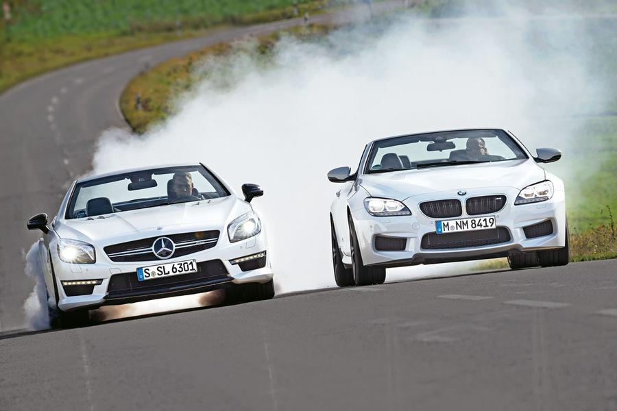 Open-air-Turbos TEST: Mercedes SL 63 AMG vs BMW M6 Cabrio