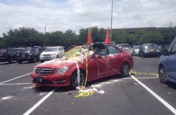 The Easter eggs end up on a Benz. Photos of really bad parking
