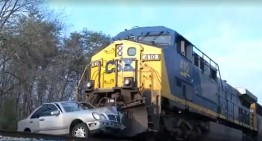 Train slams into a Benz, everyone's all right!