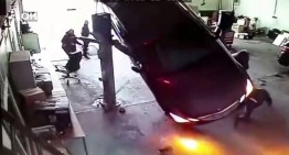What goes up must come down! E-Class collapses during technical check