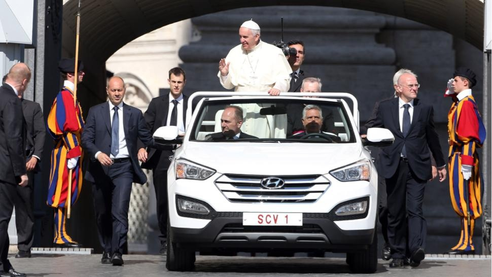 The Pope trades his Mercedes Popemobile for a Hyundai