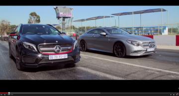 Crazy GLA 45 AMG versus S 65 AMG Coupe Mercedes drag race