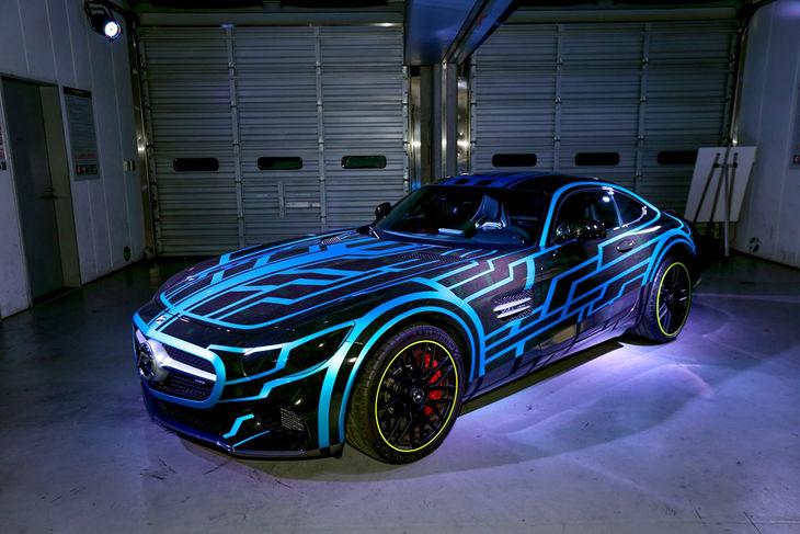 Futuristic Mercedes sports car stars in the Kamen Rider movie