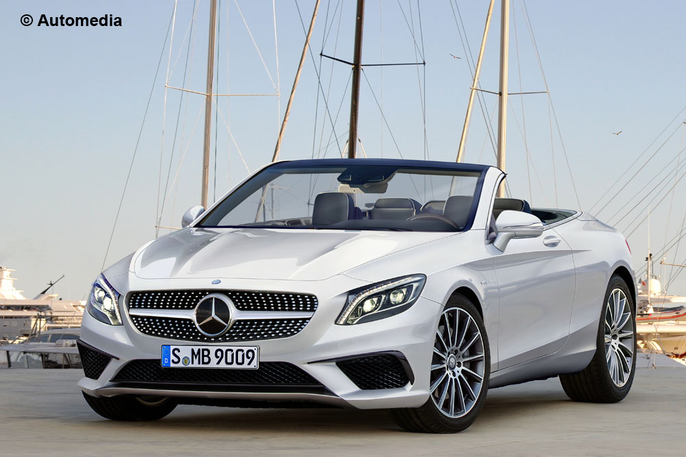 S-Class Cabrio shows its canvas roof. New spy pics