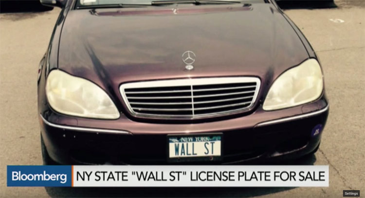 WALL ST license plate for sale. S-Class attached