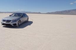 "A Mercedes-AMG S63 on the Bonneville salt ""racetrack"""