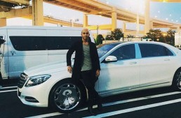 Not his usual ride: Lewis Hamilton gets the Mercedes-Maybach