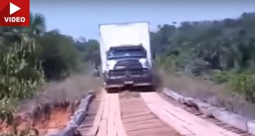 VIDEO: Mercedes truck challenges the wooden bridge. And looses