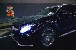 Super Mario drives the Mercedes-Benz GLA on a new course