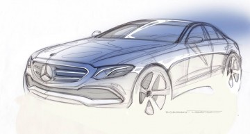 Mercedes-Benz shows E-Class sketch and video at midnight. Happy New Year it is!
