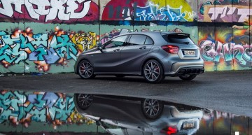The Mercedes A 45 AMG lives the street life in super photo session