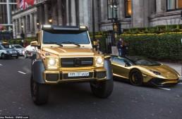 Flashy fleet – Saudi sheikh shows off golden Mercedes G63 AMG 6×6 in London
