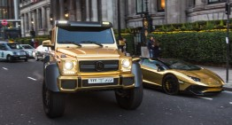 Flashy fleet – Saudi sheikh shows off golden Mercedes G63 AMG 6×6 in London