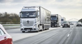 Autonomous Daimler trucks convoy drives through Europe