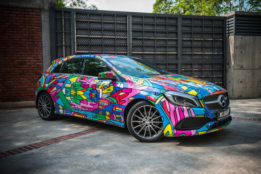 """""""A"""" stands for """"art"""". Mercedes-Benz A-Class cars covered in graffiti in Malaysia"""