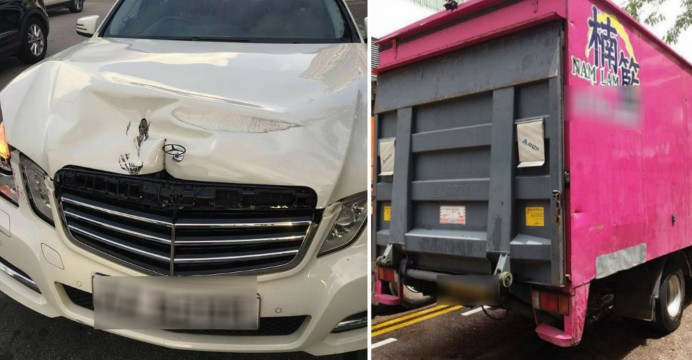 Road-bomb! Horror truck driver attacks Mercedes-Benz sedan