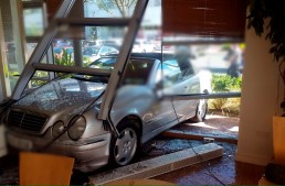 Mercedes driver crashes into a café in Dublin
