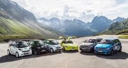 "Nine Mercedes-Benz ""green"" cars run in the Silvretta E-Car Rally"