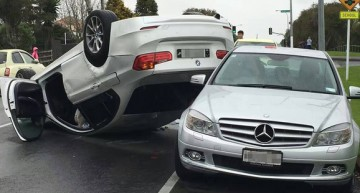 How did he even get there? BMW crashes into Mercedes