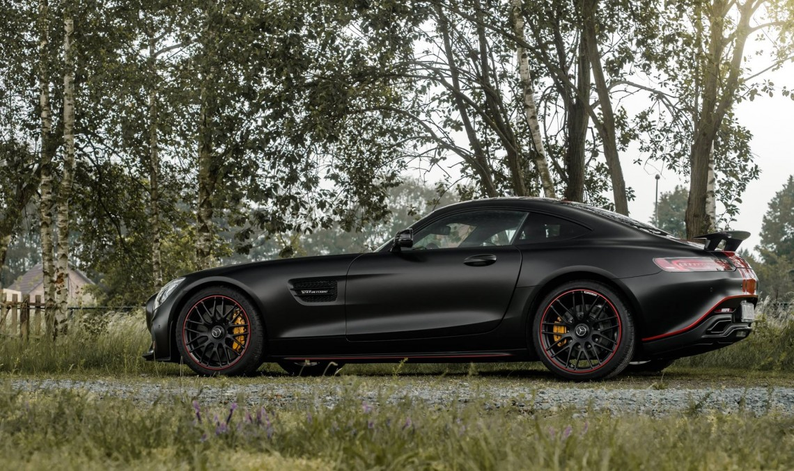 Diabolique! Satin Black Mercedes-AMG GT S with Dragon Red Stripes