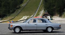Mercedes 450 SEL takes a trip to the tallest ski jumping hill in Planica