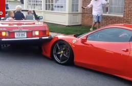 Mercedes SL crushes Ferrari: Woman can't park (video)