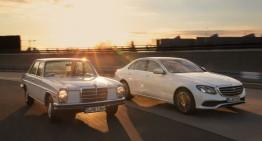 Meet the parents. New Mercedes E-Class versus classic Strich-Acht