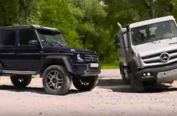 Alien vs Predator – Mercedes-Benz G 500 4×4² and Unimog U5030 play in the mud