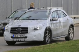 2017 Mercedes GLA latest spy shots reveal new LED headlights