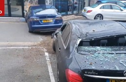 Tesla Model S attacks Mercedes dealership, lands on E-Class