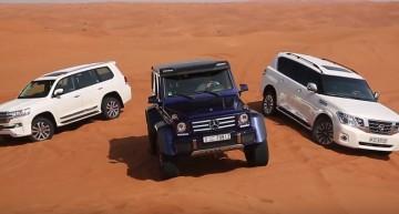 Prince of the desert! Mercedes-Benz G500 4×4² vs Toyota Land Cruiser vs Nissan Patrol