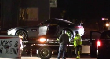 Gone in 10 minutes, dropped in a second! Stolen Mercedes-AMG GT falls hard from tow truck
