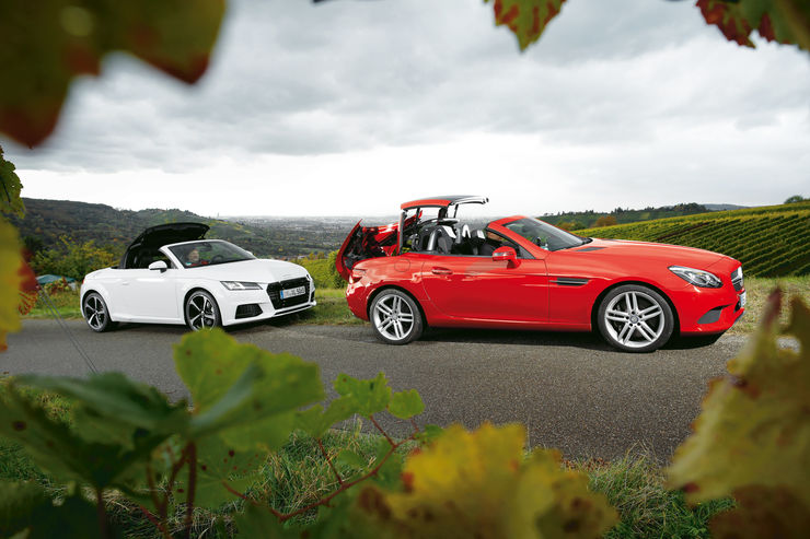 Diesel roadsters in test: Mercedes SLC 250 d vs. Audi TT 2.0 TDI Ultra
