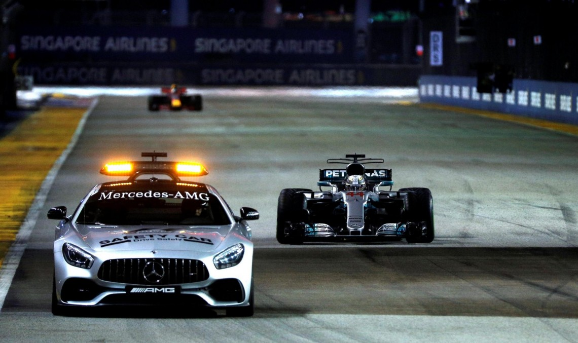 Lucky stars in Singapore for Mercedes. Lewis Hamilton wins after starting 5th