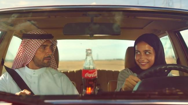 Girl driving a Mercedes-Benz in the latest TV ad promoting women behind the wheel in Saudi Arabia