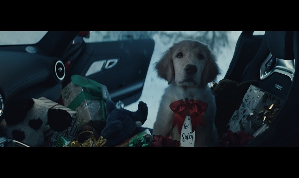 Santa Claus has got a puppy for a co-driver on-board the Mercedes-AMG GT