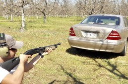 Man fires a rifle into a W220 Mercedes-Benz S-Class to see how bulletproof it is