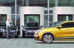 BMW advertises its X2 in a Mercedes-Benz dealership