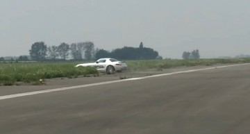 Oops! Wrong turn! Mercedes SLS AMG flies off dragstrip