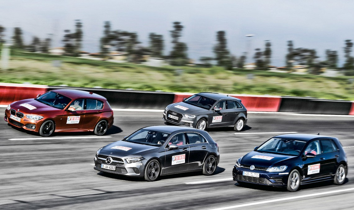 Who's the king? New Mercedes A-Class first comparison test versus Audi A3, VW Golf, BMW 1 Series