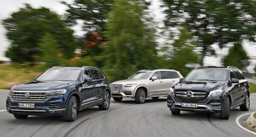 New VW Touareg versus Mercedes GLE, Volvo XC90: Bold in a class of understated