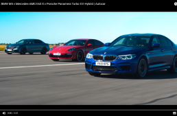 Drag race video by Autocar: Mercedes-AMG E 63 S vs Panamera Turbo S E-Hybrid, BMW M5
