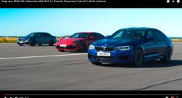 Drag race video by Autocar: Mercedes-AMG E 63 S vs Panamera Turbo S E-Hybrid, BMW M5